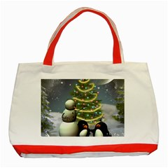 Funny Snowman With Penguin And Christmas Tree Classic Tote Bag (red)