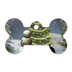 Funny Snowman With Penguin And Christmas Tree Dog Tag Bone (one Side)