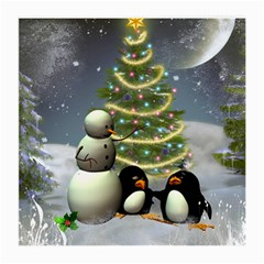 Funny Snowman With Penguin And Christmas Tree Medium Glasses Cloth (2 Side)