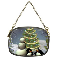 Funny Snowman With Penguin And Christmas Tree Chain Purses (one Side)