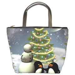 Funny Snowman With Penguin And Christmas Tree Bucket Bags