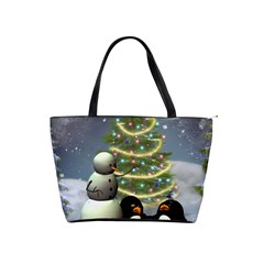 Funny Snowman With Penguin And Christmas Tree Shoulder Handbags