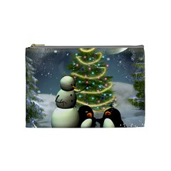 Funny Snowman With Penguin And Christmas Tree Cosmetic Bag (medium)