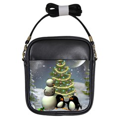 Funny Snowman With Penguin And Christmas Tree Girls Sling Bags