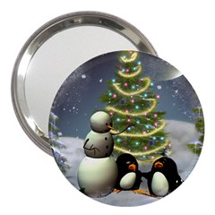 Funny Snowman With Penguin And Christmas Tree 3  Handbag Mirrors