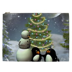 Funny Snowman With Penguin And Christmas Tree Cosmetic Bag (xxl)