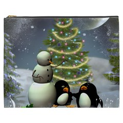 Funny Snowman With Penguin And Christmas Tree Cosmetic Bag (xxxl)