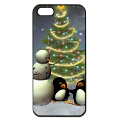 Funny Snowman With Penguin And Christmas Tree Apple Iphone 5 Seamless Case (black)