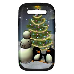 Funny Snowman With Penguin And Christmas Tree Samsung Galaxy S Iii Hardshell Case (pc+silicone)