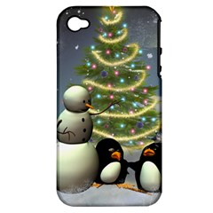 Funny Snowman With Penguin And Christmas Tree Apple Iphone 4/4s Hardshell Case (pc+silicone)