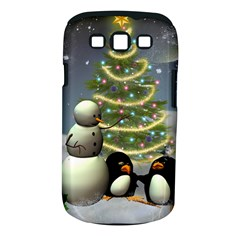 Funny Snowman With Penguin And Christmas Tree Samsung Galaxy S Iii Classic Hardshell Case (pc+silicone)