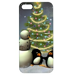 Funny Snowman With Penguin And Christmas Tree Apple Iphone 5 Hardshell Case With Stand