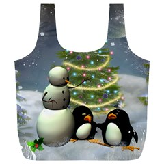 Funny Snowman With Penguin And Christmas Tree Full Print Recycle Bags (l)