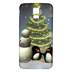 Funny Snowman With Penguin And Christmas Tree Samsung Galaxy S5 Back Case (white)
