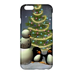 Funny Snowman With Penguin And Christmas Tree Apple Iphone 6 Plus/6s Plus Hardshell Case