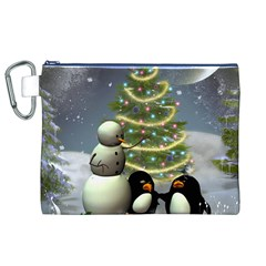 Funny Snowman With Penguin And Christmas Tree Canvas Cosmetic Bag (xl)