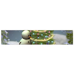 Funny Snowman With Penguin And Christmas Tree Flano Scarf (small)
