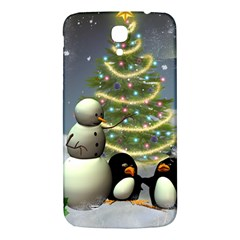 Funny Snowman With Penguin And Christmas Tree Samsung Galaxy Mega I9200 Hardshell Back Case