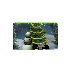 Funny Snowman With Penguin And Christmas Tree Cosmetic Bag (xs)