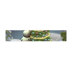 Funny Snowman With Penguin And Christmas Tree Flano Scarf (mini)