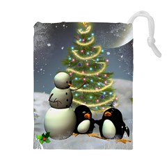 Funny Snowman With Penguin And Christmas Tree Drawstring Pouches (extra Large)