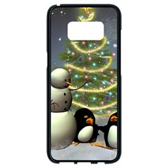 Funny Snowman With Penguin And Christmas Tree Samsung Galaxy S8 Black Seamless Case