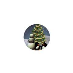 Funny Snowman With Penguin And Christmas Tree 1  Mini Magnets