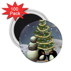 Funny Snowman With Penguin And Christmas Tree 2 25  Magnets (100 Pack)