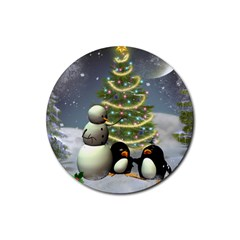 Funny Snowman With Penguin And Christmas Tree Rubber Round Coaster (4 Pack)