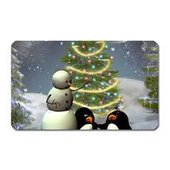 Funny Snowman With Penguin And Christmas Tree Magnet (rectangular)