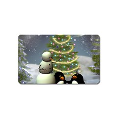 Funny Snowman With Penguin And Christmas Tree Magnet (name Card)