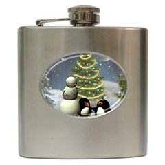 Funny Snowman With Penguin And Christmas Tree Hip Flask (6 Oz)