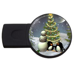Funny Snowman With Penguin And Christmas Tree Usb Flash Drive Round (2 Gb)