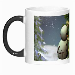 Funny Snowman With Penguin And Christmas Tree Morph Mugs
