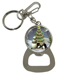 Funny Snowman With Penguin And Christmas Tree Bottle Opener Key Chains