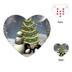 Funny Snowman With Penguin And Christmas Tree Playing Cards (heart)