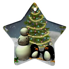 Funny Snowman With Penguin And Christmas Tree Star Ornament (two Sides)