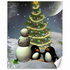 Funny Snowman With Penguin And Christmas Tree Canvas 16  X 20