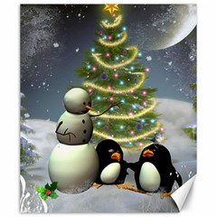 Funny Snowman With Penguin And Christmas Tree Canvas 20  X 24