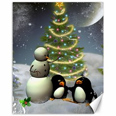 Funny Snowman With Penguin And Christmas Tree Canvas 11  X 14