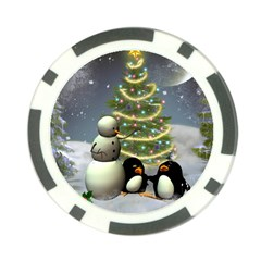 Funny Snowman With Penguin And Christmas Tree Poker Chip Card Guard