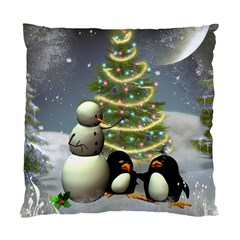 Funny Snowman With Penguin And Christmas Tree Standard Cushion Case (one Side)