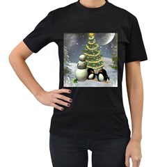 Funny Snowman With Penguin And Christmas Tree Women s T Shirt (black)