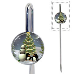 Funny Snowman With Penguin And Christmas Tree Book Mark