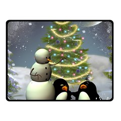 Funny Snowman With Penguin And Christmas Tree Fleece Blanket (small)