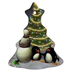 Funny Snowman With Penguin And Christmas Tree Ornament (christmas Tree)