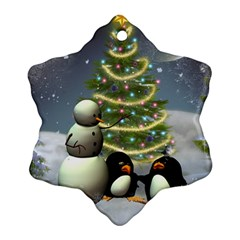 Funny Snowman With Penguin And Christmas Tree Snowflake Ornament (two Sides)