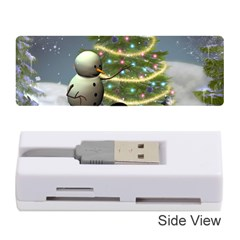 Funny Snowman With Penguin And Christmas Tree Memory Card Reader (stick)