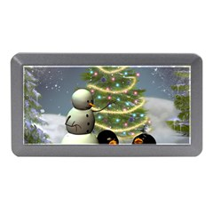 Funny Snowman With Penguin And Christmas Tree Memory Card Reader (mini)