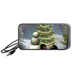Funny Snowman With Penguin And Christmas Tree Portable Speaker